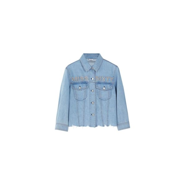 Denim shirt with sequined logo