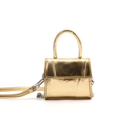 Gold leather micro bag