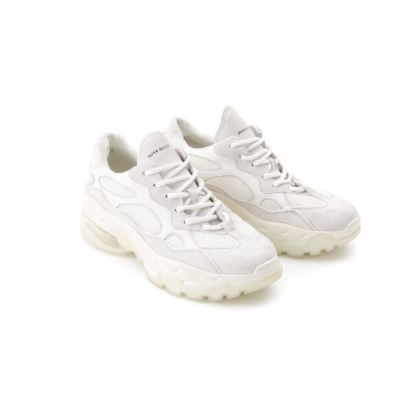 White suede sneakers with rubber sole