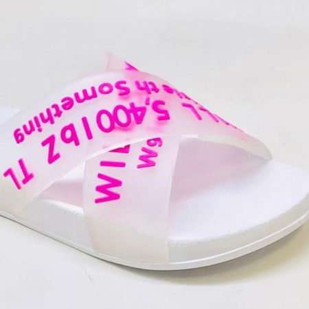 Rubber slides in white with neon letters