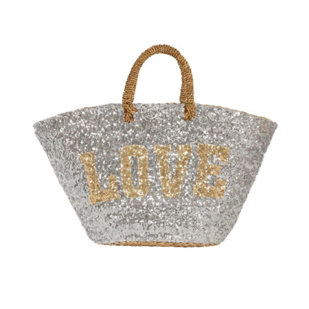 Beach straw tote bag with sequins in silver