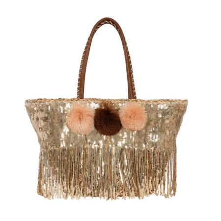 Beach straw tote bag with sequins in gold