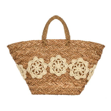 Beach straw tote bag with woven details in offwhite