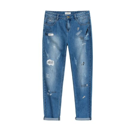 Denim trousers with prints