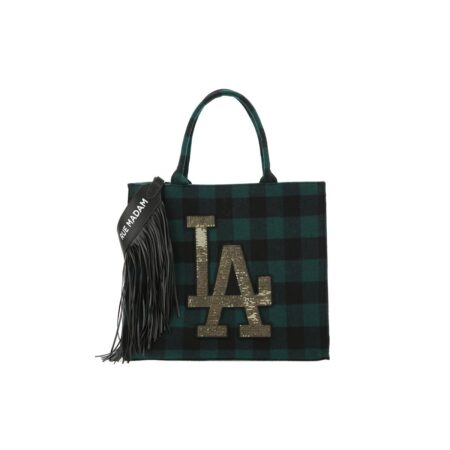 Check print tote bag with fringes