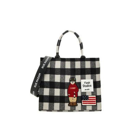 Check print tote bag with paches