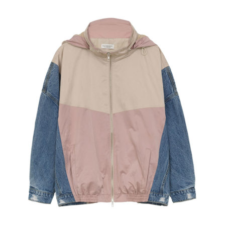 Zip details retro bomber jacket with jean sleeve details in pink
