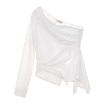 One shoulder asymmetric poplin shirt in white