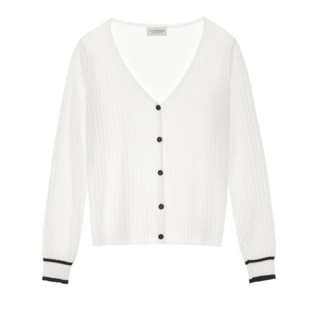 Knitted cardigan in white and black