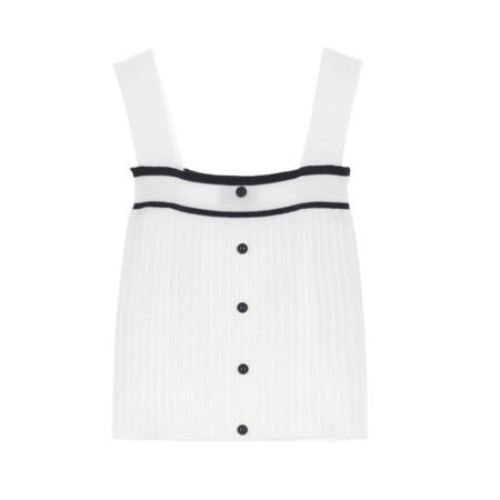Knitted buttoned up strap top in white and black