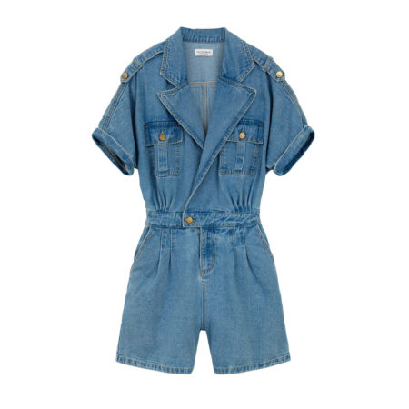 Shortsleeve denim jumpsuit