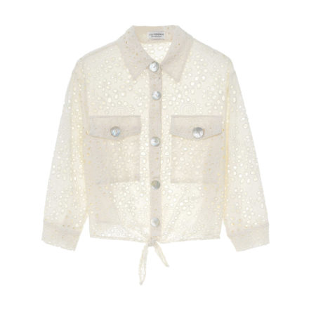 Tie front cropped sheer shirt in offwhite