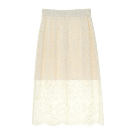 English lace midi skirt in offwhite
