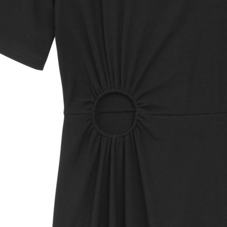 Shortsleeve cotton dress with front hole detail in black