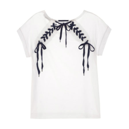 White tshirt with lace up back details