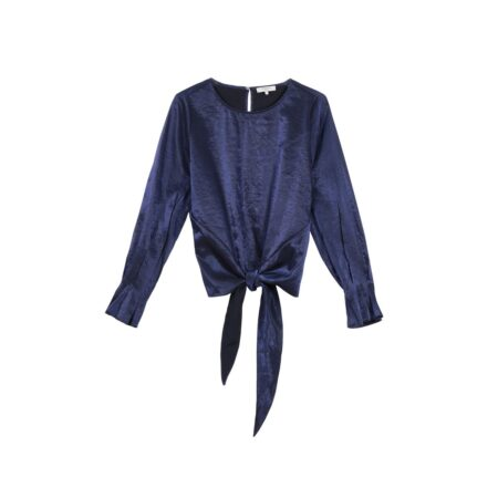 long-sleeve blouse with front lacing