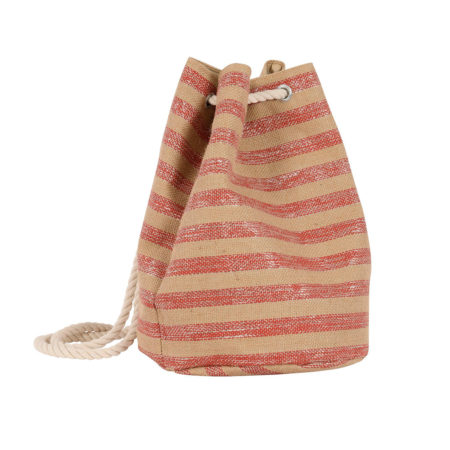 Striped bucket bag