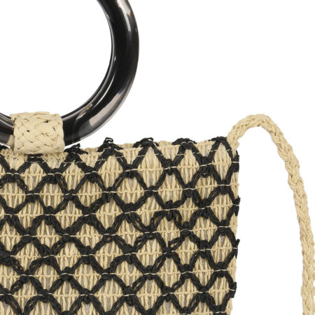 Raffia effect bucket bag