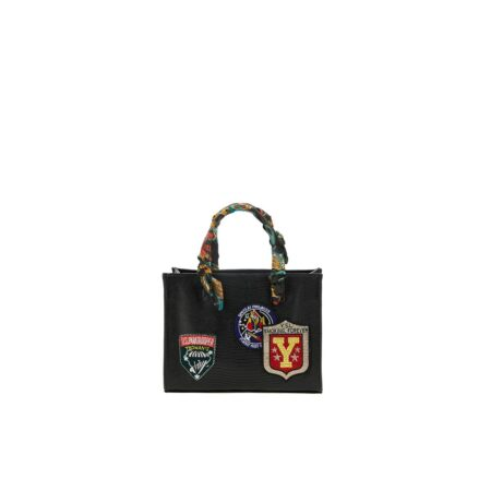 Black mini tote bag with paches