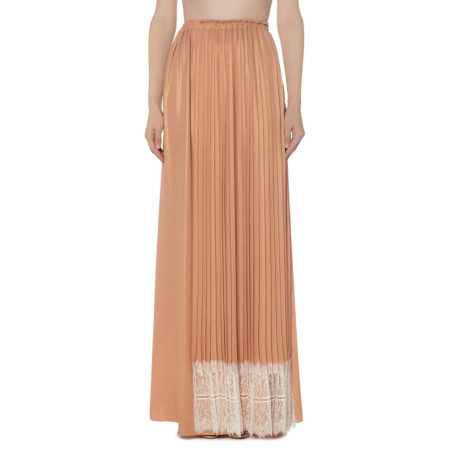 Maxi pleated skirt with lace details