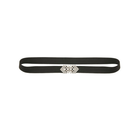 Elastic belt with crystal buckle