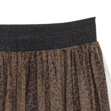 Tulle skirt with animal print