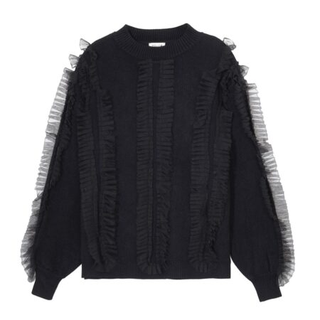 Wooven sweater with tulle details