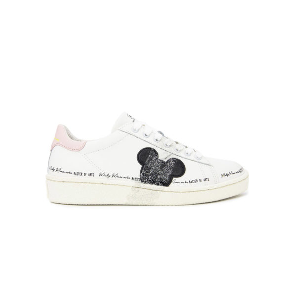 Leather sneaker with disney print and glitter details