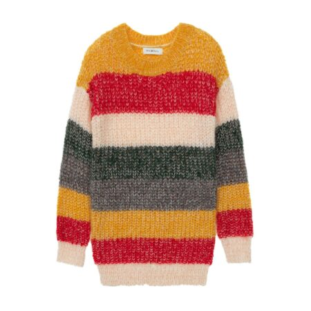 Wooven sweater with stripes