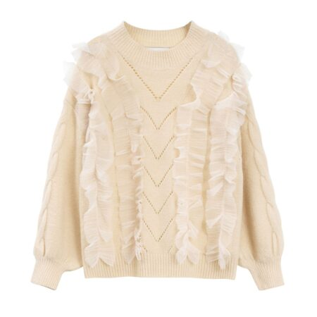 Knitted sweater with tulle