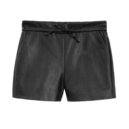 Faux leather elastic shorts