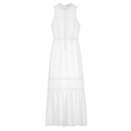 Maxi dress with guipure in white