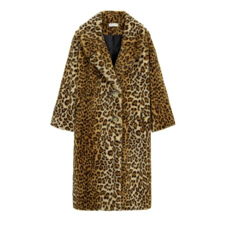 Lonf faux fur with animal print