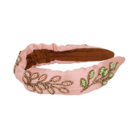 Pink headband with leafs