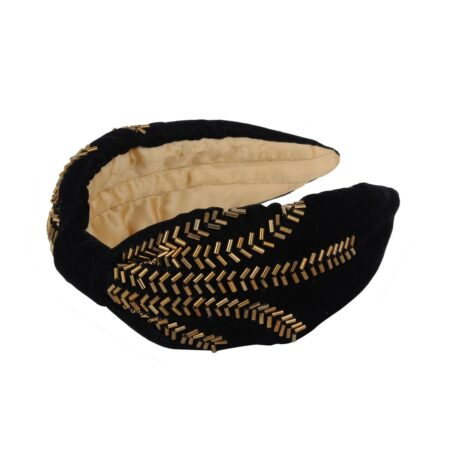 Black headband with gold details