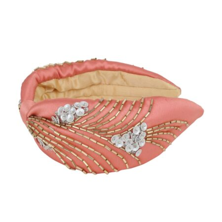 Pink Satin headband with gold and silver details