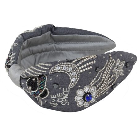Jean headband with silver strass
