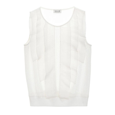 Sleeveless top with ruffles in white