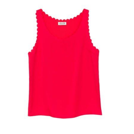 Scalloped tank top in red coral