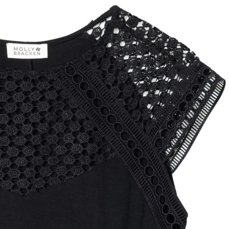 Top with guipure in black