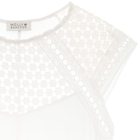 Top with guipure in white
