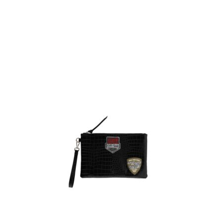 Black clutch bag with patches