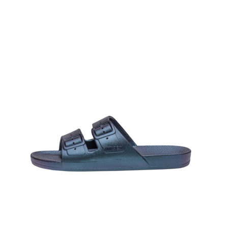 Metallic dark navy women slides